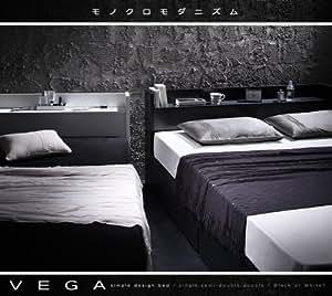 棚・コンセント付き収納ベッド VEGA ヴェガ ボンネルコイルマットレス:レギュラー付き シングル ブラック