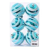Partyforte Striped Christmas Baubles, 8cm, 6 Count, Blue