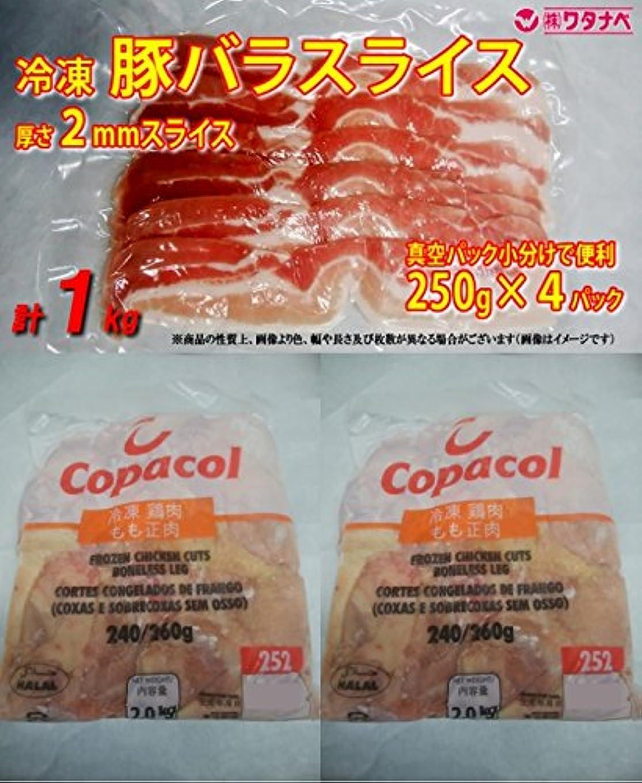 乏しいモック純粋な冷凍 豚バラスライス 2mm 1kg (250g×4) & ブラジル産 鶏モモ肉 サイズ:240-260 2kg×2 セット