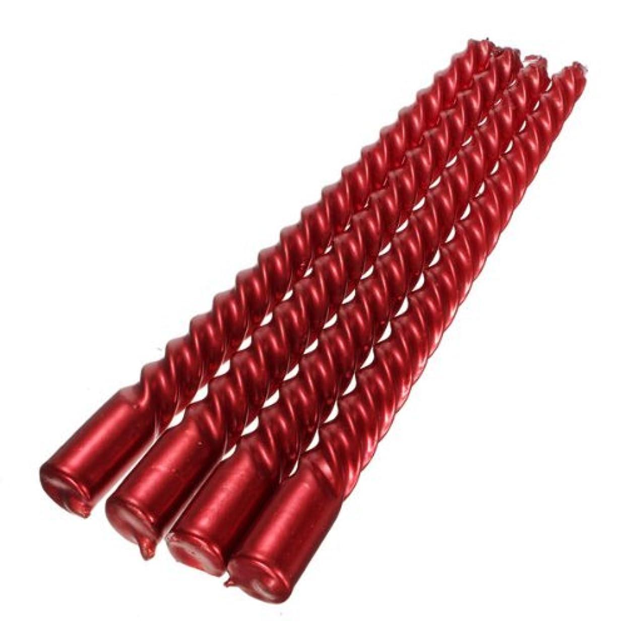 スタッフ意味する大きい4本ロングスパイラルテーパツイストダイニングテーブルウェディングキャンドルフェスティバル装飾家庭用品(赤)
