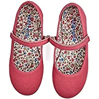 Childrenchic Mary Jane Flats with Hook and Loop Straps – Shoes for Girls (Canvas - Magenta, 24 M EU/8 M US Toddler)