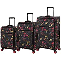 IT LUGGAGE Softside Luggage Set, 3 Piece, Large 76cm + Med 64cm + Small 54cm, Dark Floral