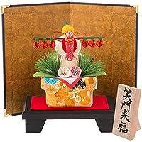 (ファンファン) FUN fun 正月飾り 迎春飾り 鏡もち 鏡餅 屏風付 笑門来福 間口16*奥行11*高さ20(約cm) 日本製