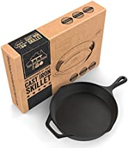 Fresh Australian Kitchen Pre-Seasoned Large Cast Iron Skillet Fry Pan 30cm (12.5 Inches). Perfect for Frying, BBQ, Camping.