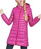 (ホンタ)HONTA レデイース秋冬軽いと薄いダウンジャケット、中綿 防寒 無地 長袖 高品質フェザーのやわらか素材フード付きコート、防風 暖かいロングコート、プラスサイズ