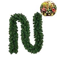 feileng クリスマスオーナメント 人工観葉植物  ドア装飾 ロマンチック 花輪 ラタンガーランド 結婚式  ウォール デコレーション 会場の装飾 造花 グリーン 人工藤