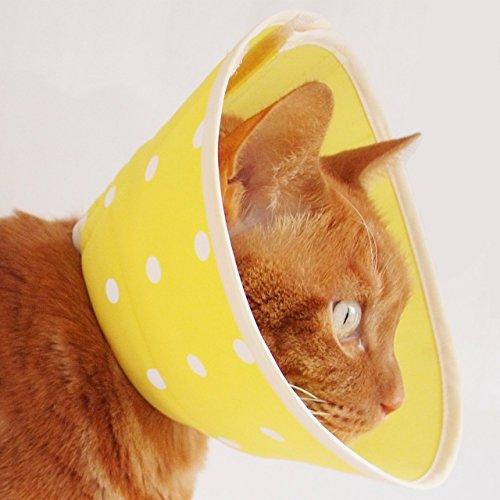 nekozuki エリザベスカラー フェザーカラー ドット イエロー Sロング ソフト 猫