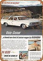 Shimaier 壁の装飾 メタルサイン 1964 Oldsmobile Vista Cruiser Station Wagon ウォールアート バー カフェ 縦30×横40cm ヴィンテージ風 メタルプレート ブリキ 看板