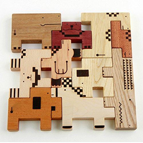 スプソリ 木のおもちゃ 知育 積み木 パズル ZooZoo 動物 ブロック 収納用布バッグつき