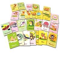 T TOOYFUL 26枚入り 両面カード アルファベット 動物認知 カード おもちゃ