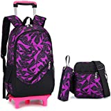 Nanle Trolley Bag Trolley School Backpack Bags with Wheels for Kids Girls Boys Pupils Removable Trolley Bag Waterproof Trolley Case Outdoor Travel 45 x 35 x 15cm (Color : Purple, Size : Six Rounds)