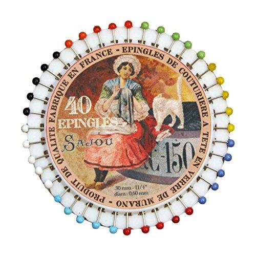 サジュー フランス輸入雑貨 マチ針 40本入り 8cm×8cm PINS6