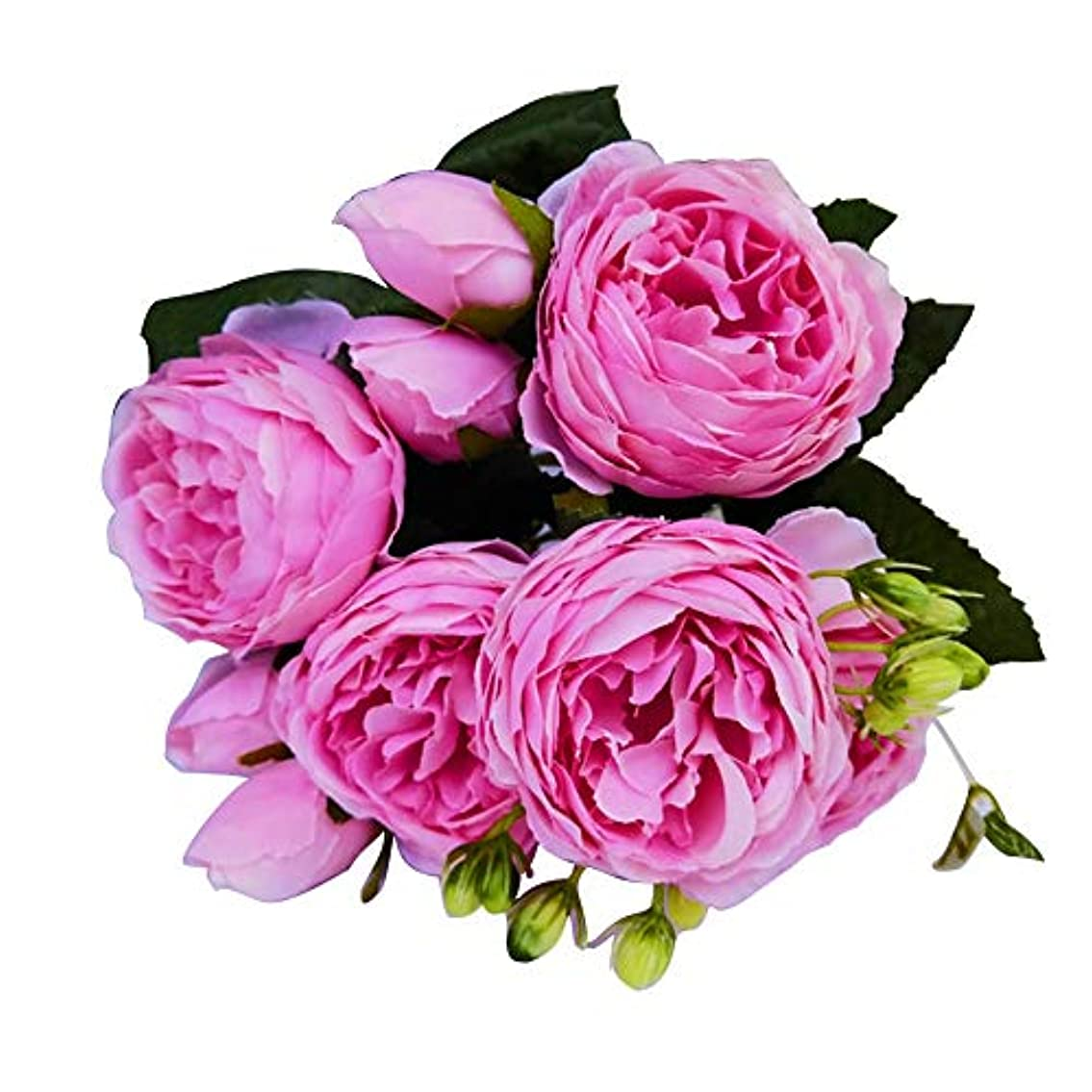 借りる治安判事外向きruisuered装飾植物結婚式人工観葉植物1ピース造花ローズホームステージブライダルウェディングアレンジメントパーティーDIYの装飾 - ローズレッド