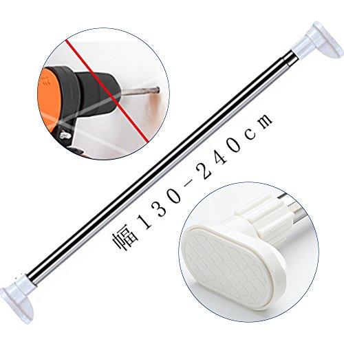 強力タイプの突っ張り棒 室内物干し 幅130-240cm 浴室用ステンレス超強力伸縮棒 耐荷重25~55kg 取付寸法 130~230cm