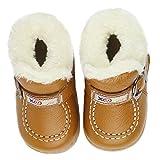 Aubig ベビーファーストシューズ レザー ソフト 冬 防寒赤ちゃんブーツ靴 13.3cm - Brown