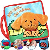 Premium Baby Book (First Year), Cloth Book Baby Gift, Fun Interactive Soft Book for Babies, Infants, Boys & Girls with Crinkly Sounds, Developmental Toy, Cute Baby Shower Box, Touch and Feel, Peekaboo