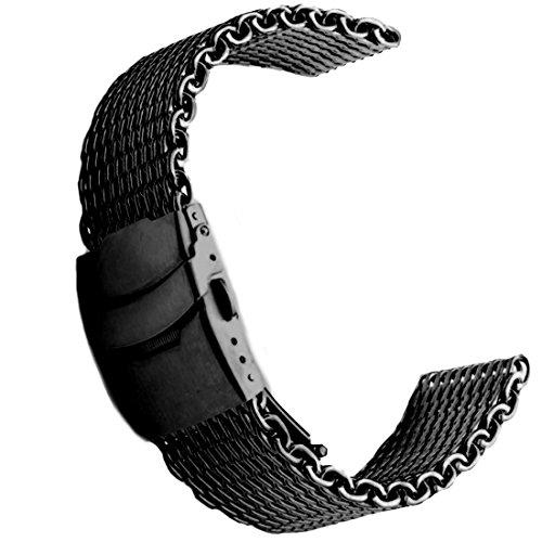[해외]20mm 상어 메쉬 밀라노 스테인레스 스틸 시계 밴드 블랙/20 mm Shark Mesh Milanese Stainless Steel Watch Band Black