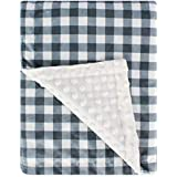 Plaid Minky Baby Blanket with Double Layer Dotted Backing, Plush Receiving Blanket for Boys, Girls, Newborns, Toddlers, Nursery, Bedding5060inch Blue