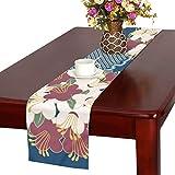 LKCDNG テーブルランナー カラフル きれい 和風の花 クロス 食卓カバー 麻綿製 欧米 おしゃれ 16 Inch X 72 Inch (40cm X 182cm) キッチン ダイニング ホーム デコレーション モダン リビング 洗える
