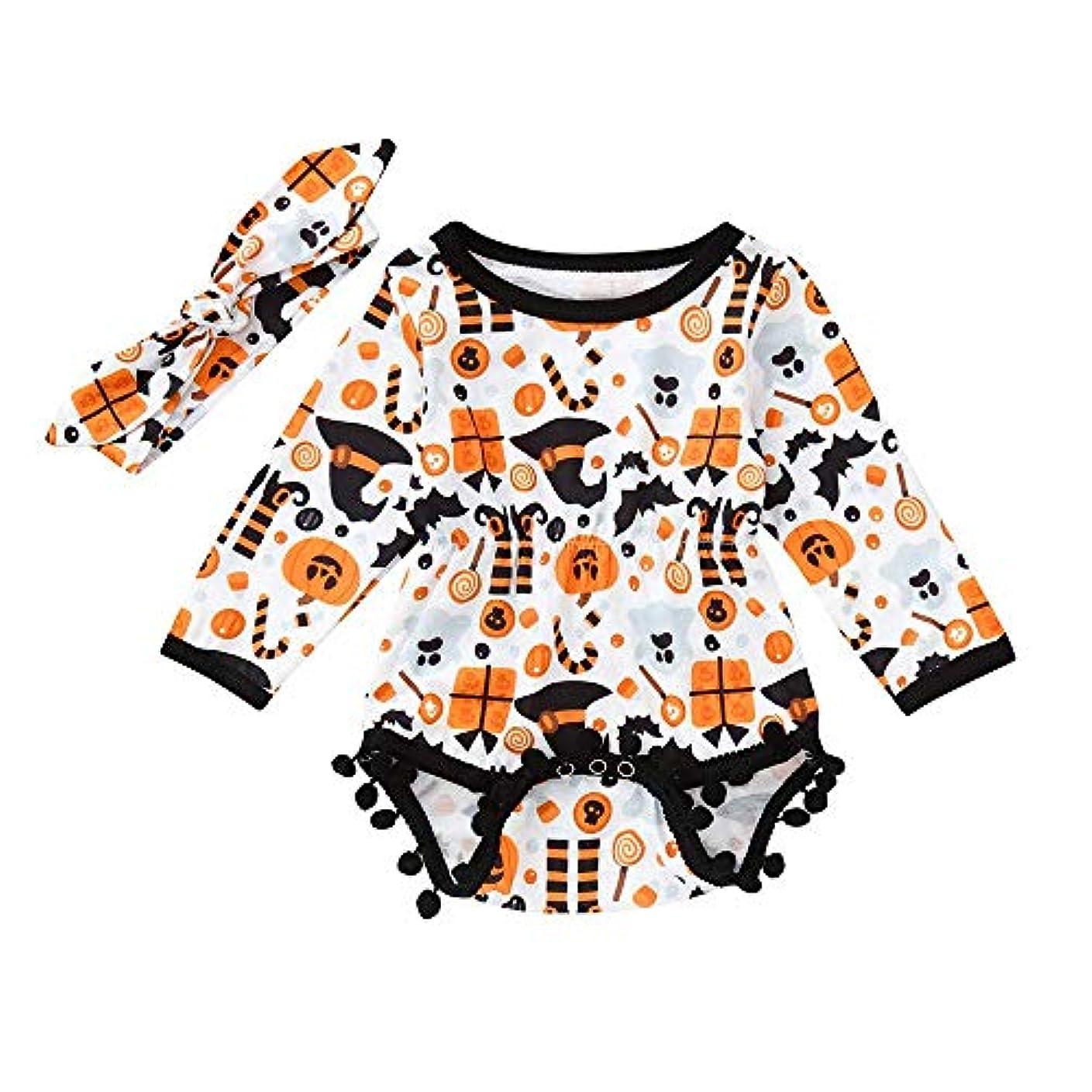 心理的月曜日調和のとれたBHKK 赤ちゃん幼児少年少女漫画ロンパージャンプススーツハロウィンコスチュームボディスーツ 6 ヶ月-24 ヶ月 オレンジ 24ヶ月