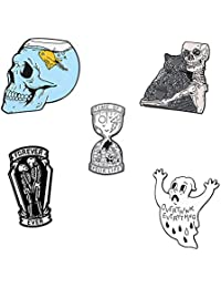 Funny Art Enamel Pin Set - Skull Ghost Skeleton Cat Hourglass Halloween Horror Enamel Lapel Brooch Pin Set for Men Women (5 Piece)