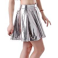 HDE Plus Size Shiny Liquid Skater Skirt Flared Metallic Wet Look Pleated Skirt