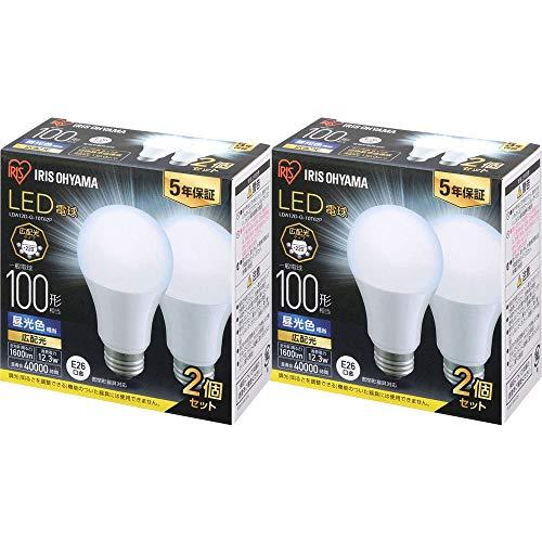 アイリスオーヤマ LED電球 E26 広配光 100形相当 昼光色 メーカー5年保証 2×2個セット LDA12D-G-10T62P