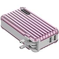 ROMOSS モバイルバッテリー 10000mAh ACプラグ内蔵 大容量 2ポート スマホ充電器 スーツケース おしゃれ iPhone iPad Android対応 ローズゴールド UP10