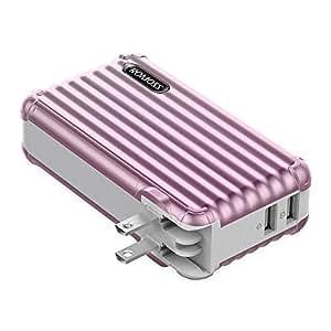 モバイルバッテリー 大容量 10000mAh AC コンセント ROMOSS スーツケース型 AC充電器 PSE認証済 iPhone iPad Android対応 UP10 ローズゴールド