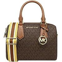 MICHAEL KORS HAYES SMALL DUFFLE BAG IN MK LOGO BROWN/LUGGAGE