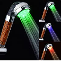 LEDハンドヘルドシャワーヘッド、ネガティブイオンフィルタースプレーヘッド3色のLEDライトシャワーヘッド