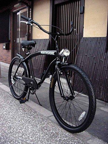 ビーチクルーザー 自転車 シマノ6段変速 極太フレーム 砲弾型ライト付 (BLACK)