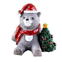 クリスマス 装飾 置物 ミニ 風景樹脂 盆栽 装飾品 歳暮ギフト かわいい 全18種 - ネコ