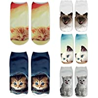 Womens Girls 3D Novelty Crazy Funny Cat Unicorn Food Ankle Socks, Cute Colorful Cartoon Low Cut Socks Value Pack