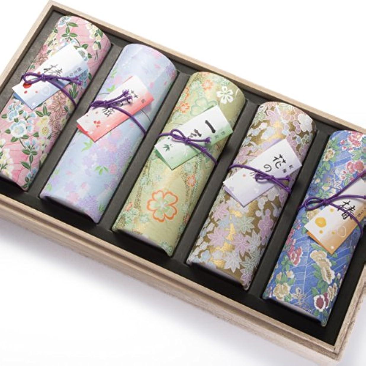 錫リング過度に奥野晴明堂 お線香 花くらべ5種セット 桐箱入り