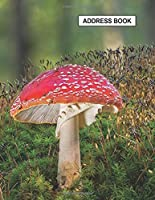 """Low Vision Large Print Address and Password Record Book: Organizer for Visually Impaired  8.5"""" x 11"""" with Bold Lines 3/4"""" Apart Toadstool Nature Cover"""