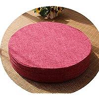 クッション丸い畳綿のリネンアート布団和式洗濯クッション瞑想ヨガマット,スイカレッド,直径60cm厚10cm