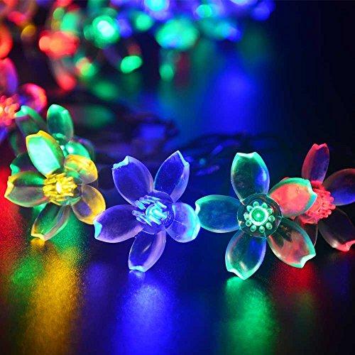 (リーダーテク)lederTEK ソーラー 防雨防水型 カラー 桃花形電飾 イルミネーション LED 6.4m 50球 8点滅モデル クリスマス ライト 新年 飾り付け