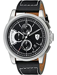 フェラーリ Ferrari Men's 0830275 FORMULA ITALIA S Stainless Steel Watch with Black Leather Band [並行輸入品]