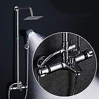 浴室のシャワーの蛇口セット - スクエアシャワーヘッドの壁のシャワーの雨の蛇口の組み合わせのセット、銅シャワーの温度制御、簡単に洗浄する