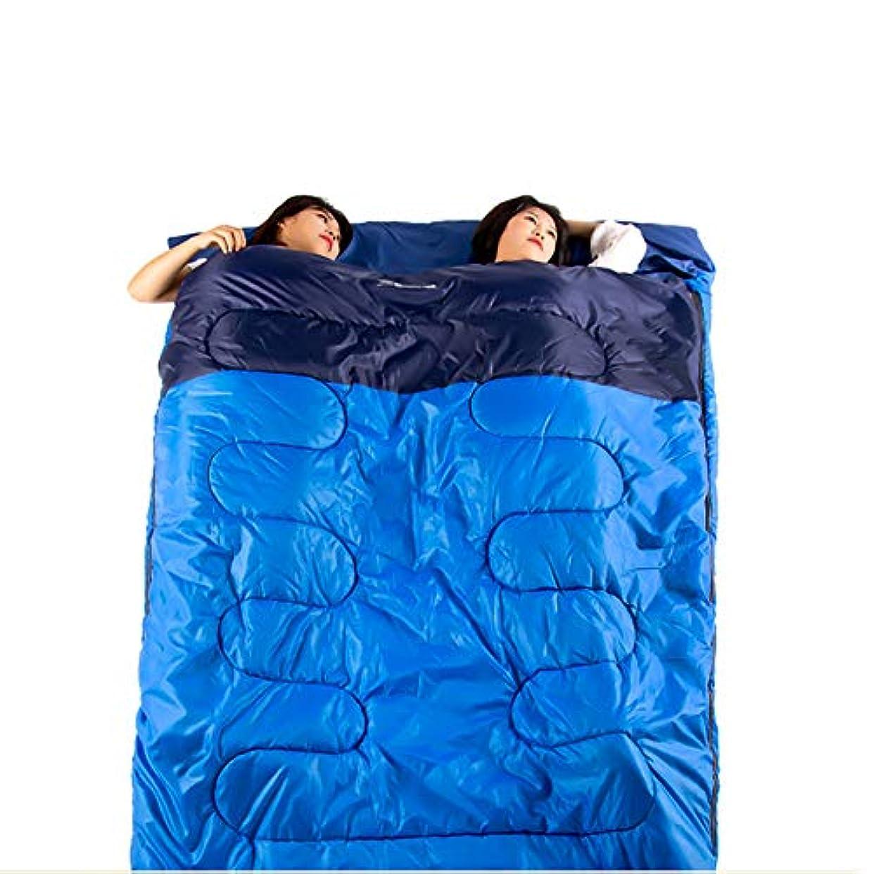 れる新着原油ダブル寝袋, 暖かい秋冬キャンプ睡眠袋大人愛好家防水睡眠袋コンパクト通気性特大のスリーピングパッドキャンプ屋外活動,blue,220*145cm