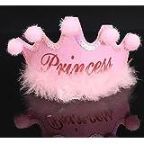 HuaQingPiJu-JP パーティーの装飾ヘアボールのトップとぬいぐるみの王冠とワードPRINCESS_Pink