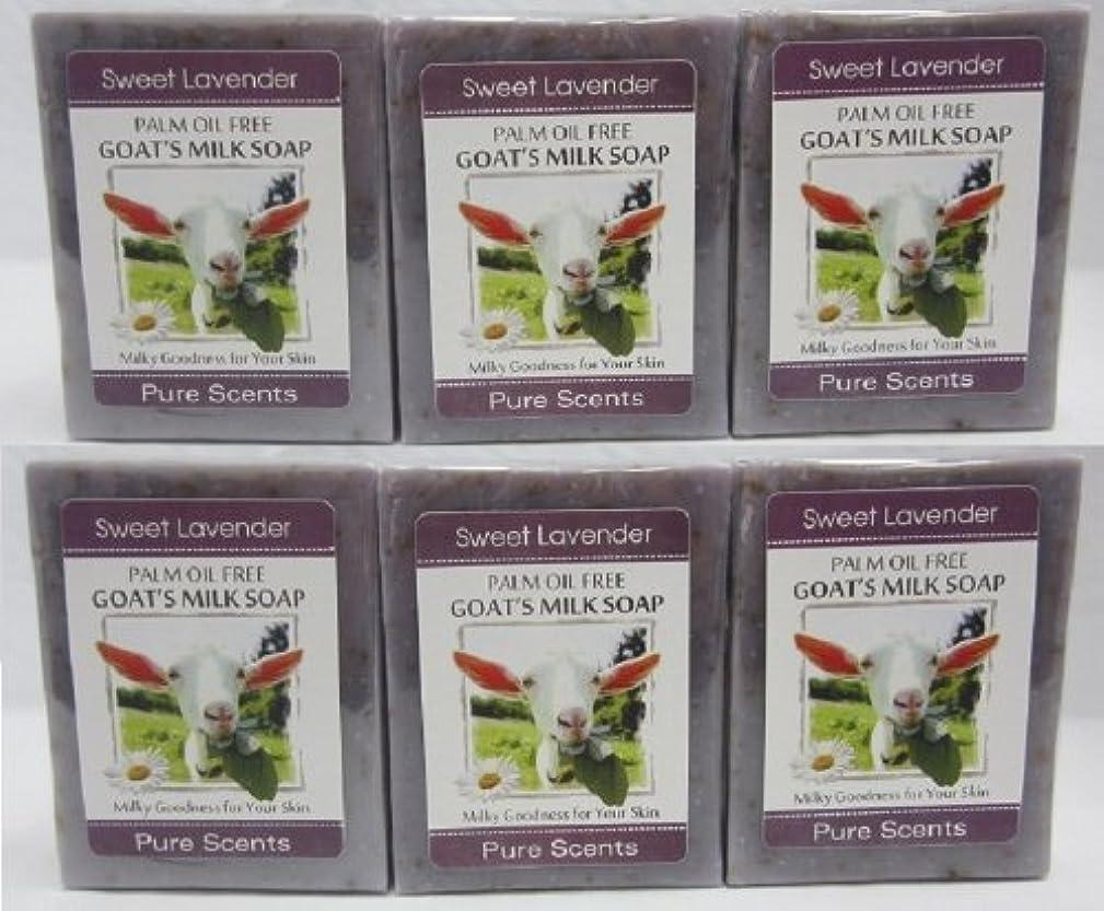 スマイル遠い操る【Pure Scents】Goat's Milk Soap ヤギのミルクせっけん 6個セット Sweet Lavender スイートラベンダー