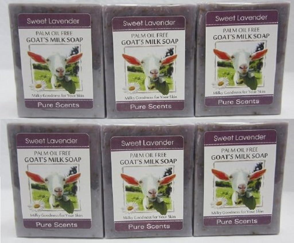 出会い請求書鬼ごっこ【Pure Scents】Goat's Milk Soap ヤギのミルクせっけん 6個セット Sweet Lavender スイートラベンダー