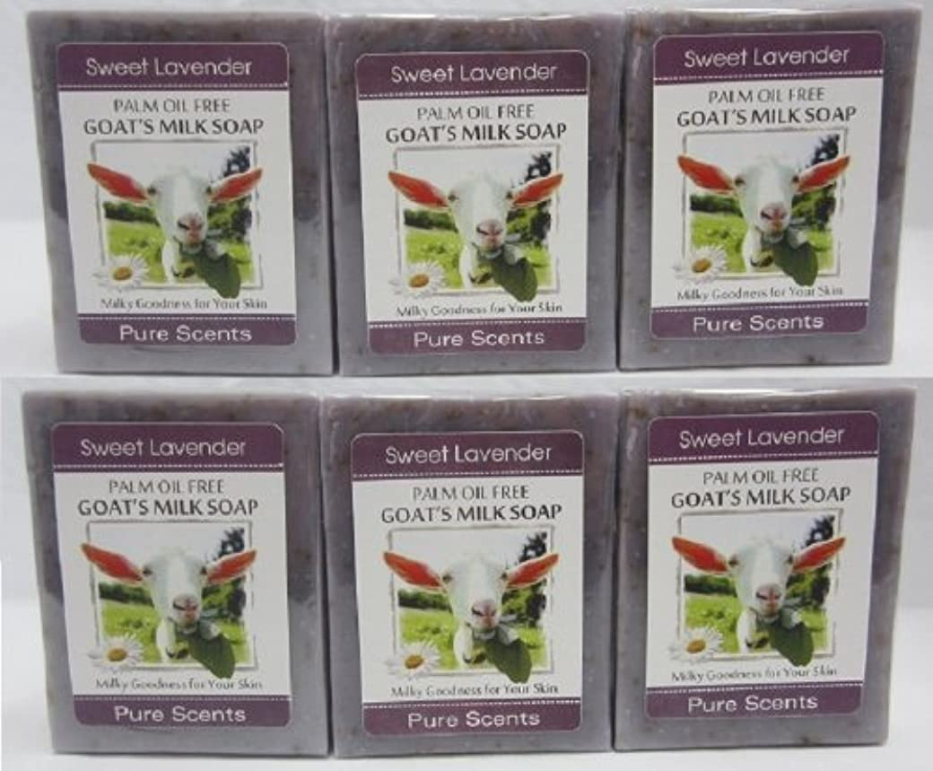 注目すべき感じる穿孔する【Pure Scents】Goat's Milk Soap ヤギのミルクせっけん 6個セット Sweet Lavender スイートラベンダー