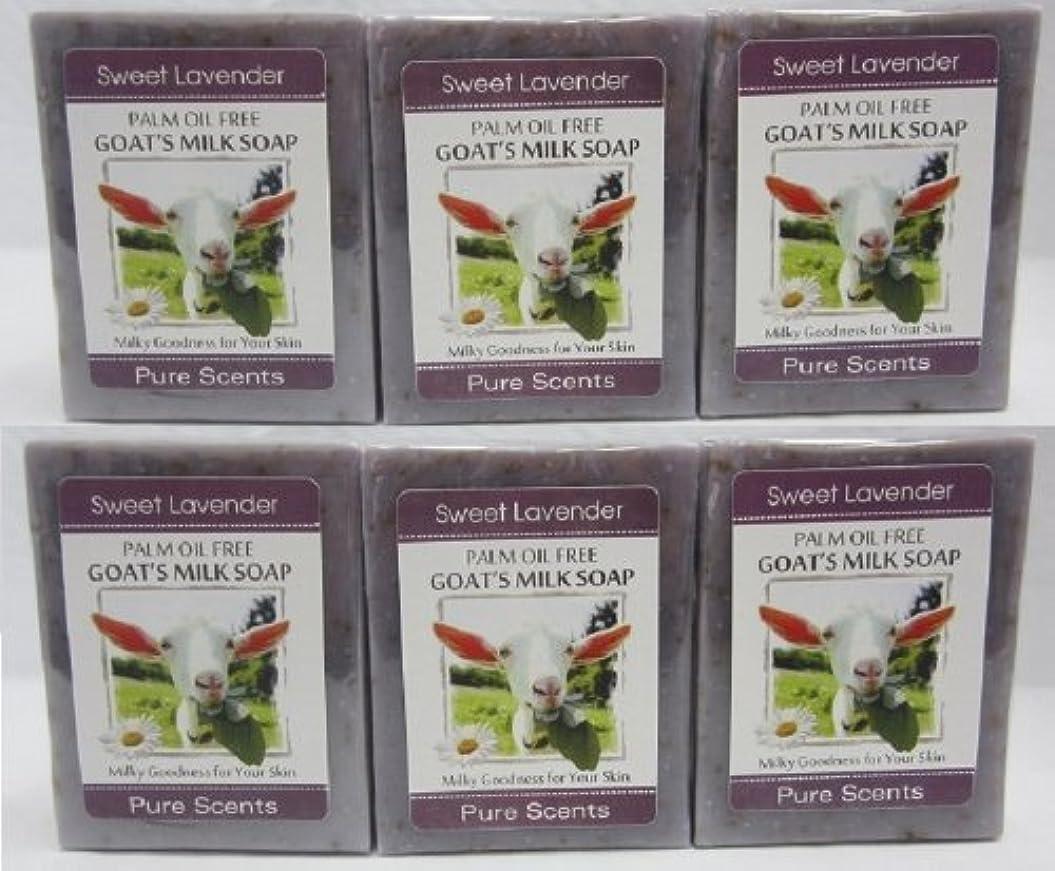 加入水を飲む遠征【Pure Scents】Goat's Milk Soap ヤギのミルクせっけん 6個セット Sweet Lavender スイートラベンダー