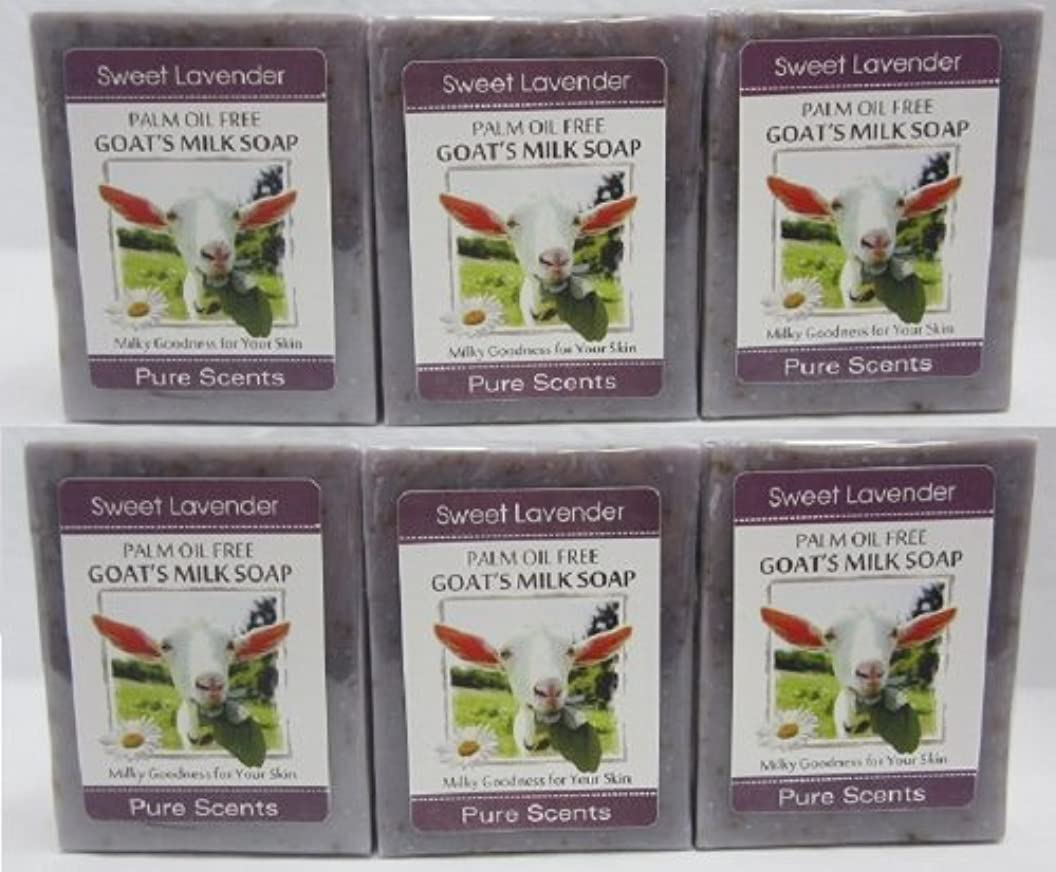 畝間スプレー団結する【Pure Scents】Goat's Milk Soap ヤギのミルクせっけん 6個セット Sweet Lavender スイートラベンダー