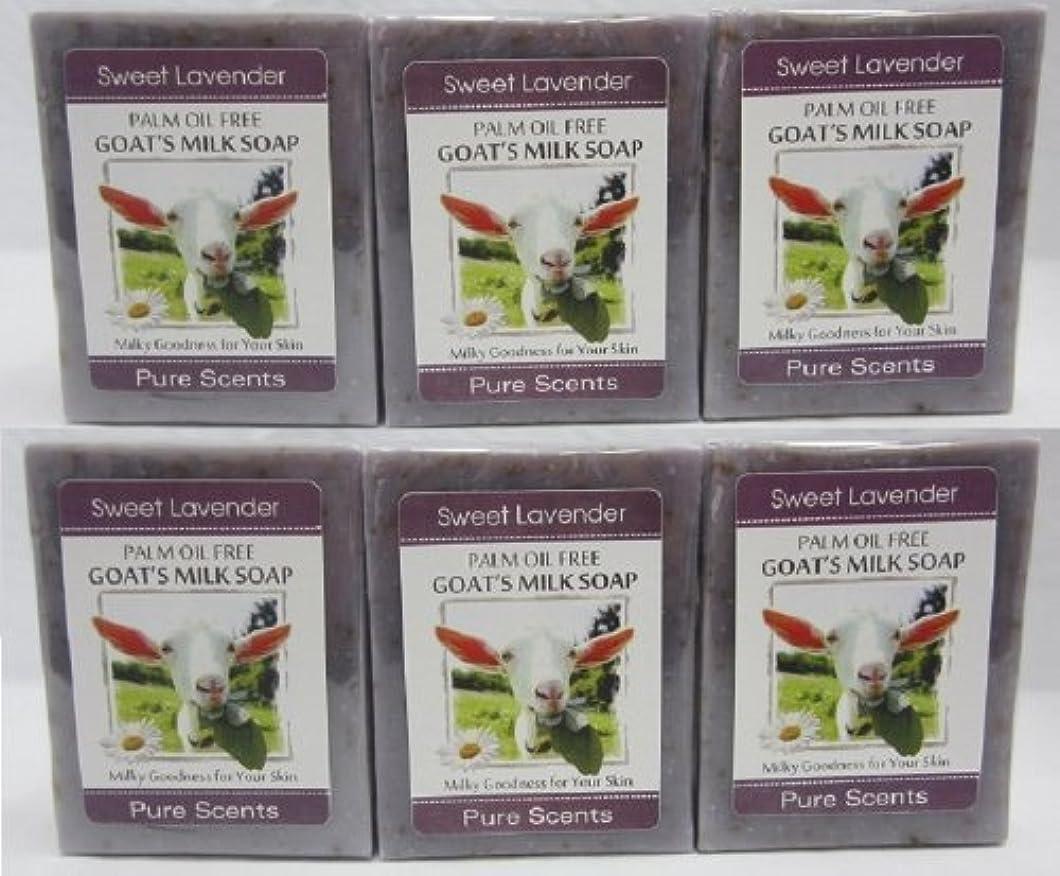 【Pure Scents】Goat's Milk Soap ヤギのミルクせっけん 6個セット Sweet Lavender スイートラベンダー