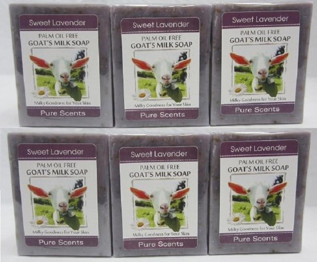 関連付ける湿気の多い寄稿者【Pure Scents】Goat's Milk Soap ヤギのミルクせっけん 6個セット Sweet Lavender スイートラベンダー