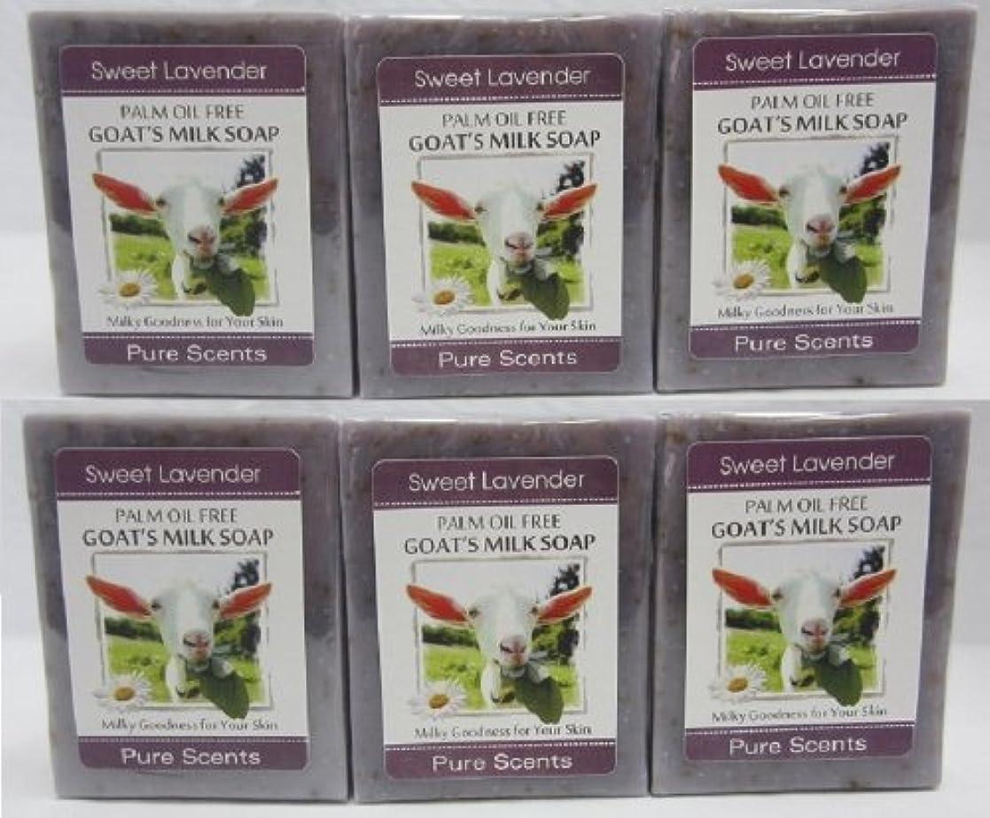 マウスピースペインティング透ける【Pure Scents】Goat's Milk Soap ヤギのミルクせっけん 6個セット Sweet Lavender スイートラベンダー